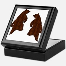 DARK BROWN TEXTURED DANCING BEARS Keepsake Box