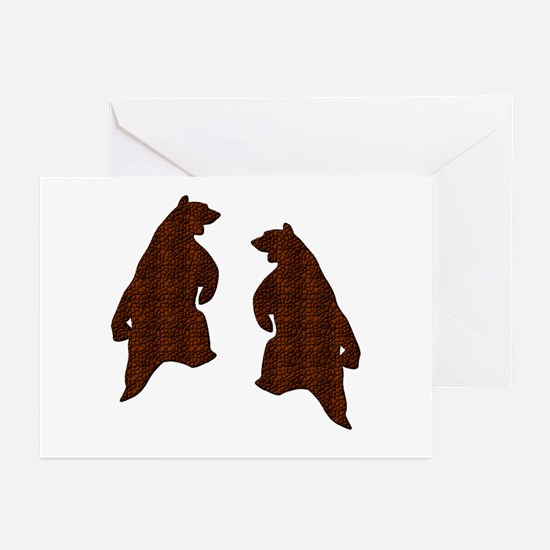 DARK BROWN TEXTURED DANCING BEARS Greeting Card10p