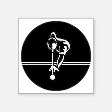 "poolman_white Large round b Square Sticker 3"" x 3"""