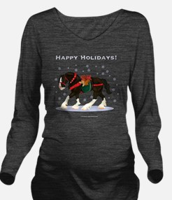 Christmas Clydesdale Long Sleeve Maternity T-Shirt