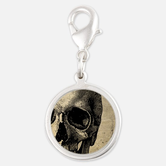 OldSkull_ipad Silver Round Charm