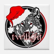 twilight Christmas wolf 2 copy Tile Coaster