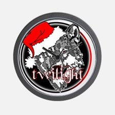 twilight Christmas wolf 2 copy Wall Clock