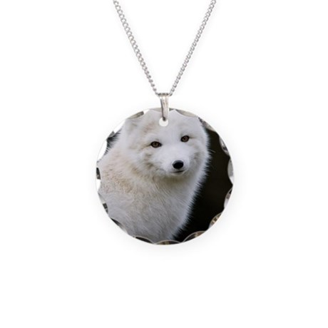 Artic Fox Necklace Circle Charm