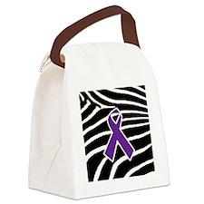 Purple Ribbon Canvas Lunch Bag