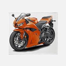 2010 CBR 600 Orange Bike Throw Blanket
