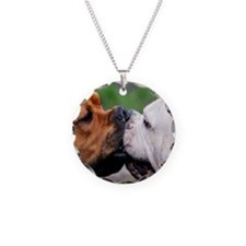 Pit Bulls round orn Necklace