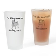 60 birthday dog years bulldog Drinking Glass