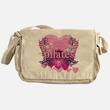 pilates pink heart wings copy Messenger Bag