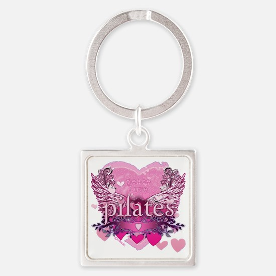 pilates pink heart wings copy Square Keychain
