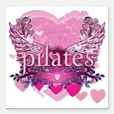 """pilates pink heart wings Square Car Magnet 3"""" x 3"""""""