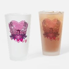 pilates pink heart wings copy Drinking Glass