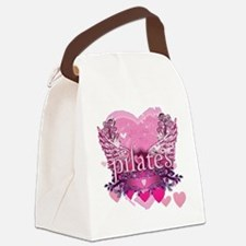 pilates pink heart wings copy Canvas Lunch Bag