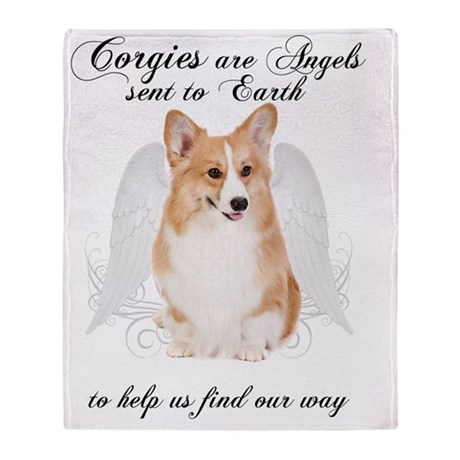 Corgi Angel Throw Blanket