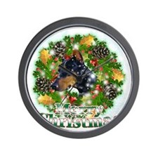 Merry Christmas Doberman2 Wall Clock