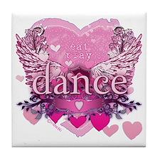 eat pray dance pink heart wings copy Tile Coaster