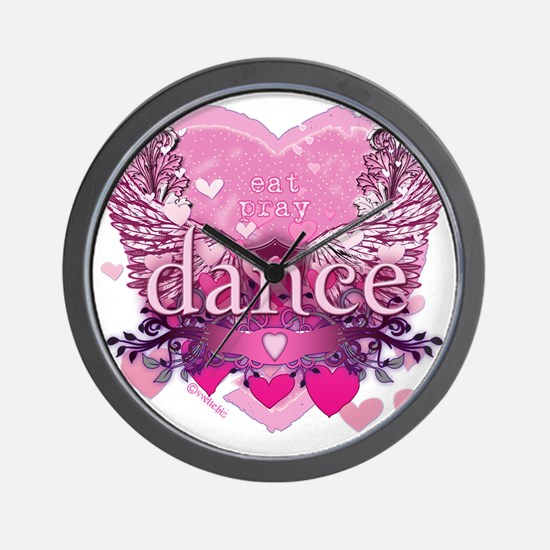 eat pray dance pink heart wings copy Wall Clock