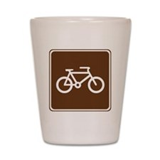 brown_bicycle_trail_sign_real Shot Glass
