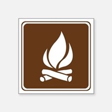 "brown_campfire_sign_real Square Sticker 3"" x 3"""