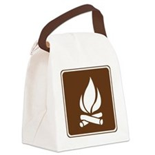 brown_campfire_sign_real Canvas Lunch Bag