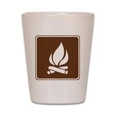 brown_campfire_sign_real Shot Glass