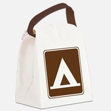 brown_camping_tent_sign_real Canvas Lunch Bag