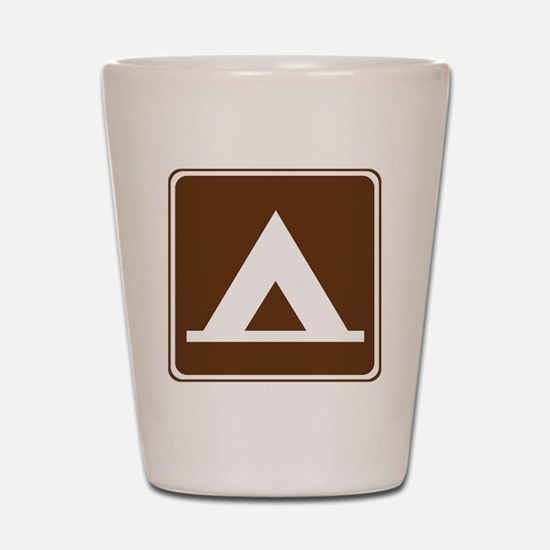 brown_camping_tent_sign_real Shot Glass