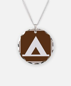 brown_camping_tent_sign_real Necklace