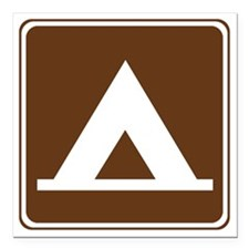 """brown_camping_tent_sign_ Square Car Magnet 3"""" x 3"""""""