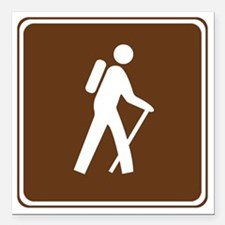 """brown_hilking_trail_sign Square Car Magnet 3"""" x 3"""""""