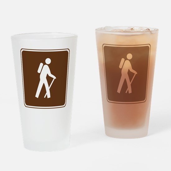 brown_hilking_trail_sign_hiking Drinking Glass