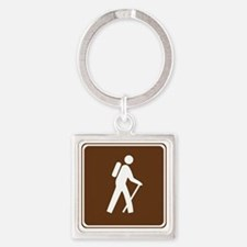 brown_hilking_trail_sign_hiking Square Keychain