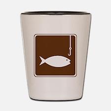 brown_fishing_sign_real Shot Glass