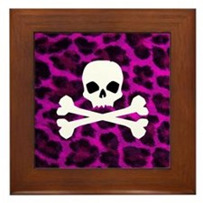 Skull Purple Leopard Framed Tile