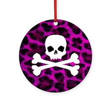 Skull Purple Leopard Round Ornament