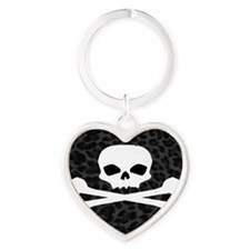 Skull Gray Leopard Heart Keychain