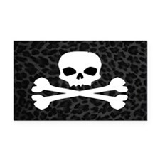 Skull Gray Leopard Rectangle Car Magnet