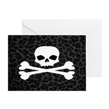 Skull Gray Leopard Greeting Card