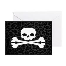 Skull Gray Leopard Greeting Card