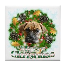Merry Christmas Bull Mastiff Tile Coaster