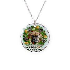 Merry Christmas Bull Mastiff Necklace Circle Charm
