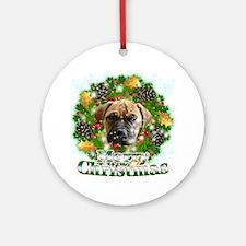 Merry Christmas Bull Mastiff Round Ornament