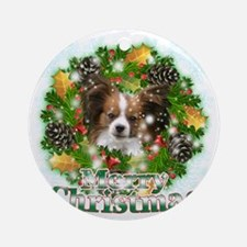 Merry Christmas Papillon Round Ornament