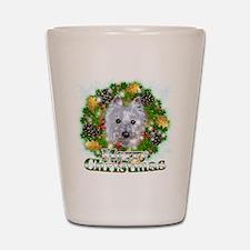 Merry Christmas Westie 2 Shot Glass