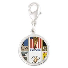 WWI marine posters Silver Round Charm