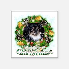 "Merry Christmas Pekingese B Square Sticker 3"" x 3"""