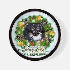 Merry Christmas Pekingese Black Wall Clock