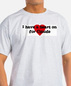Heart on for Claude Ash Grey T-Shirt