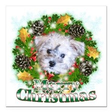 """Merry Christmas Schnoodl Square Car Magnet 3"""" x 3"""""""