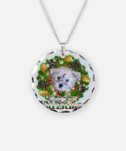 Merry Christmas Schnoodle Necklace